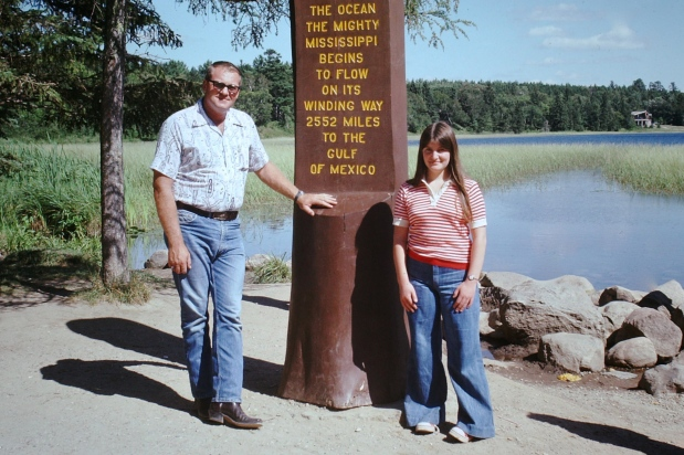 My host father and me at the source of the Mississippi , August 1975
