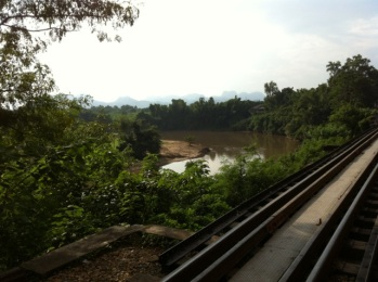 Looking towards the hills of Burma from The Death Railway