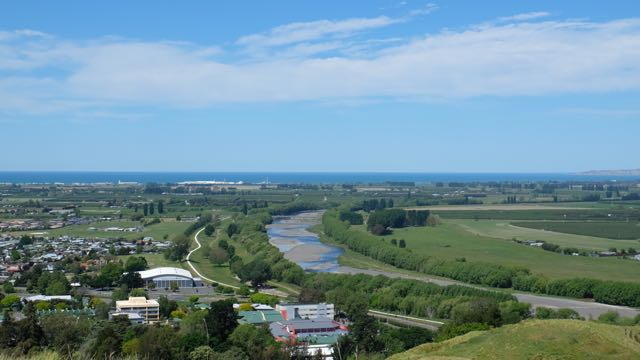 Tp the South east: The Tutaekuri River and, in the distance, Cape Kidnapers