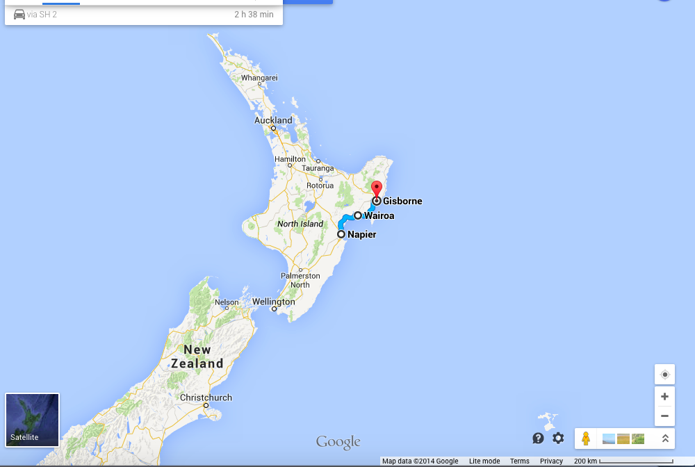 The route from Napier to Gisborne