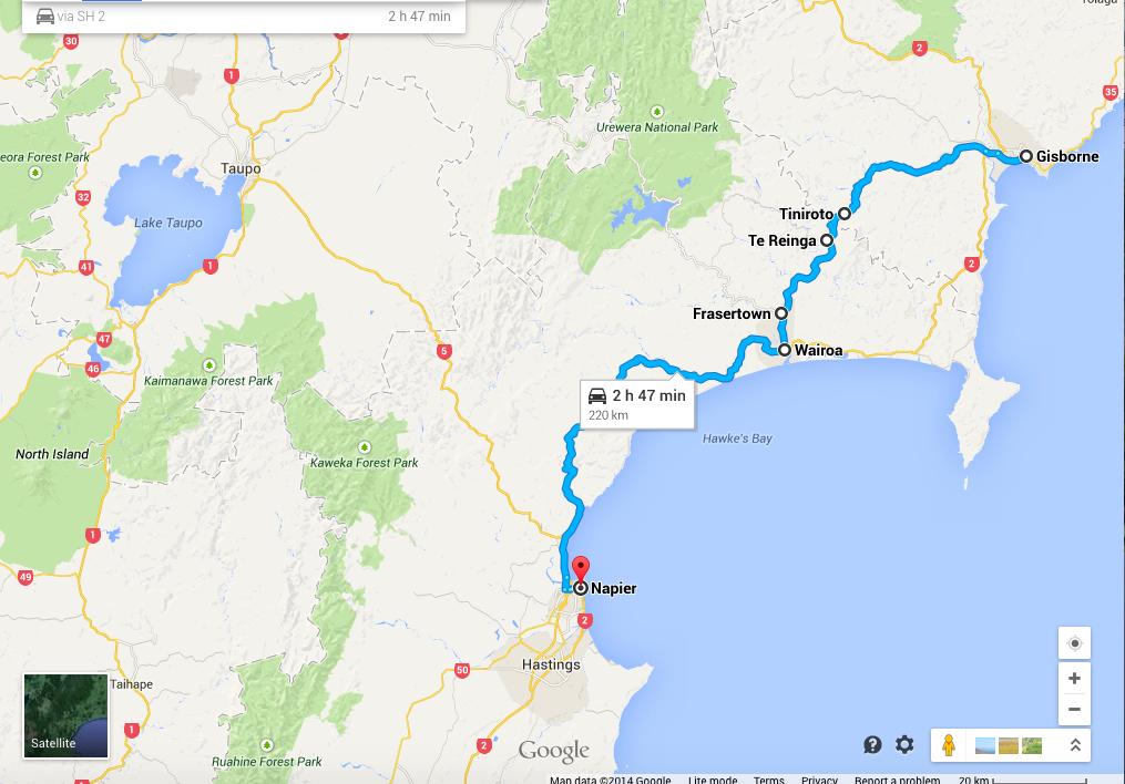 Gisborne to Napier via Tiniroto Raod