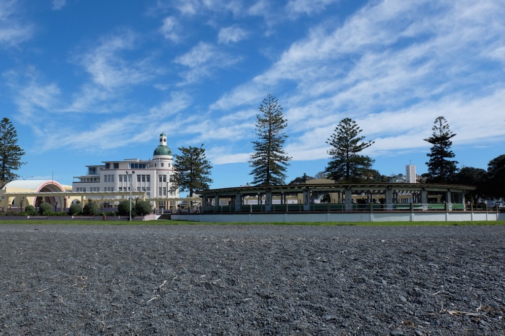 Iconic Napier Art Deco buildings, taken from the beach looking towards town