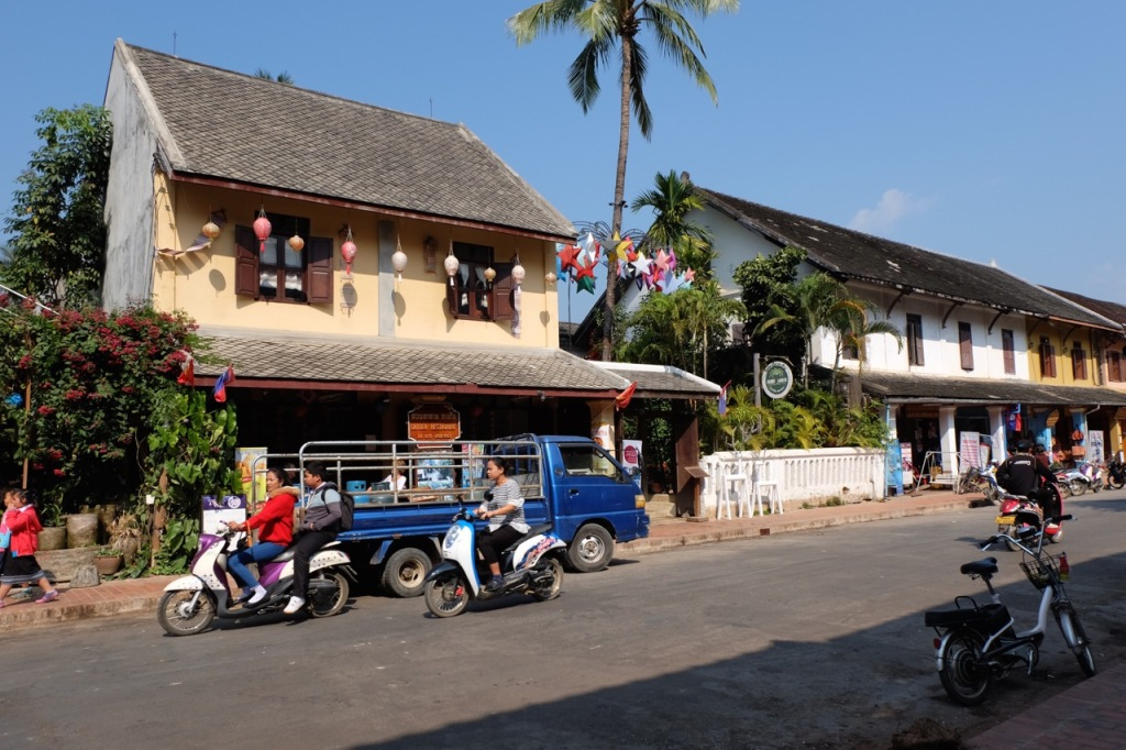A typical street scene in the tourist part of Luang Prabang.