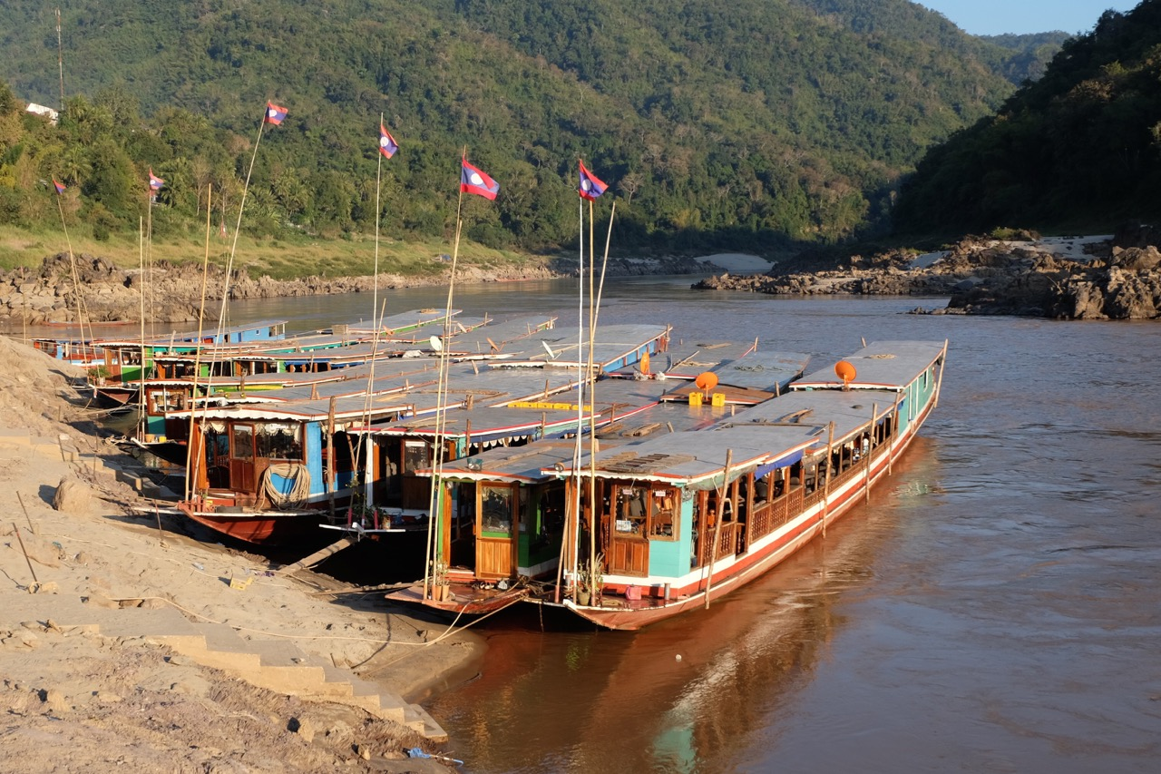 The slow boats at Pak Beng