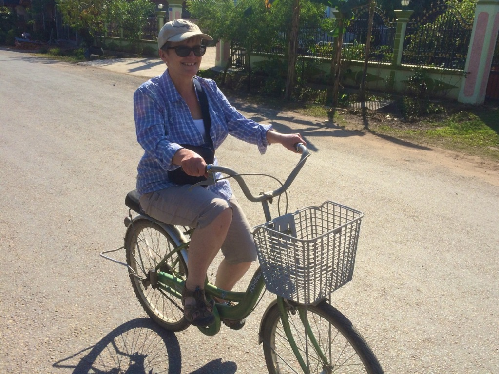 Me on my lady's street bike - note the shirt!