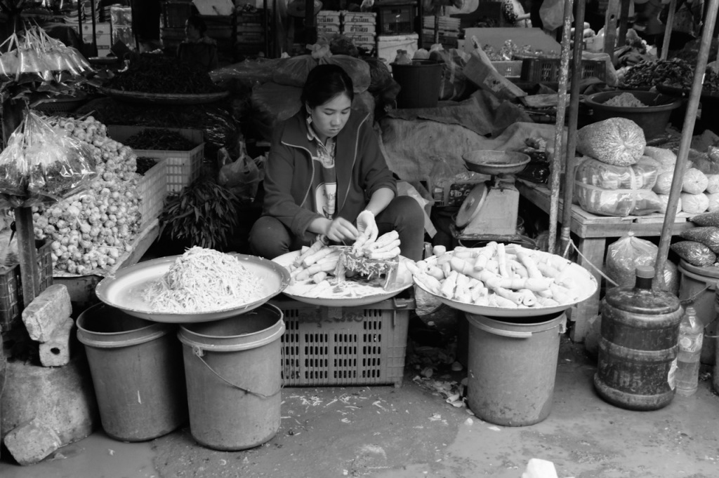 Woman shredding bamboo at Luang Prabang morning market