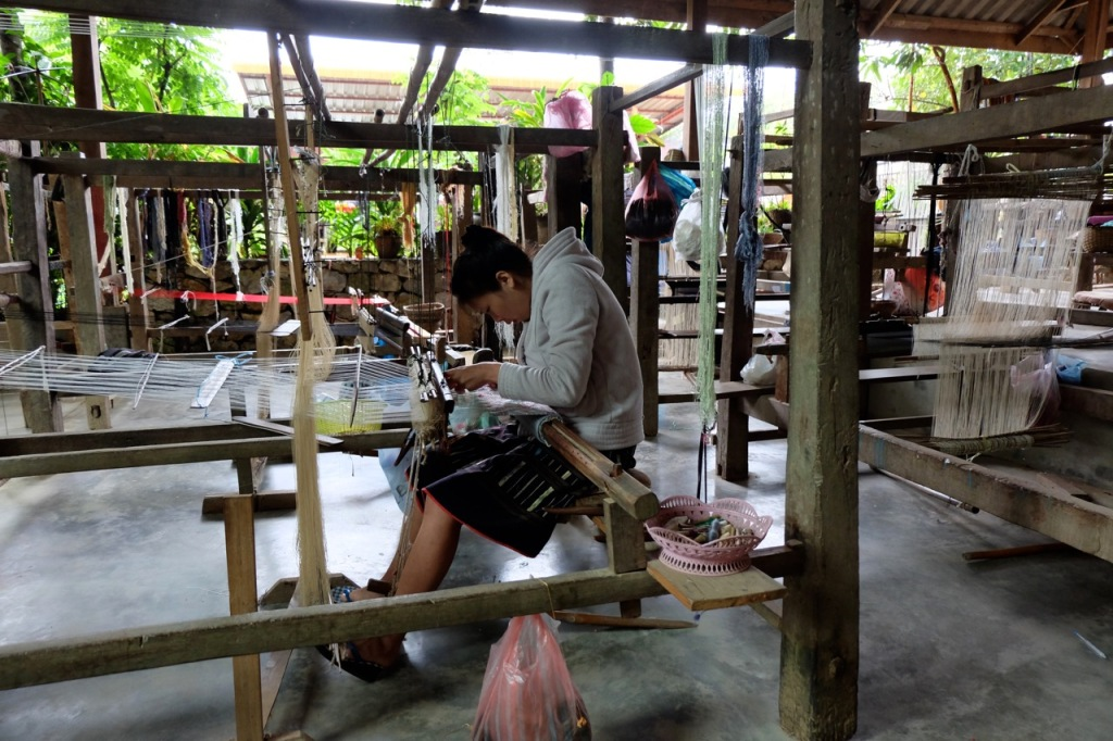 Woman weaving at Ban Xang Khong