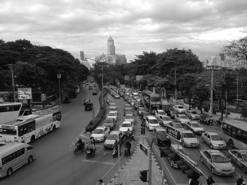 Bangkok traffic from an over bridge on Rama 4