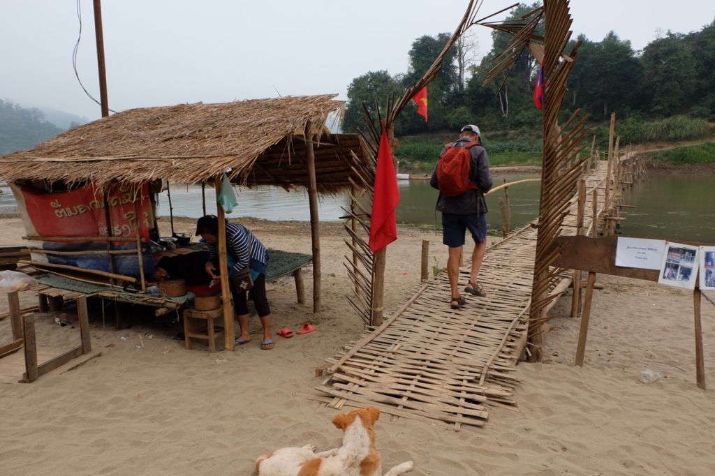 Bamboo footbridge across the Nam Khan