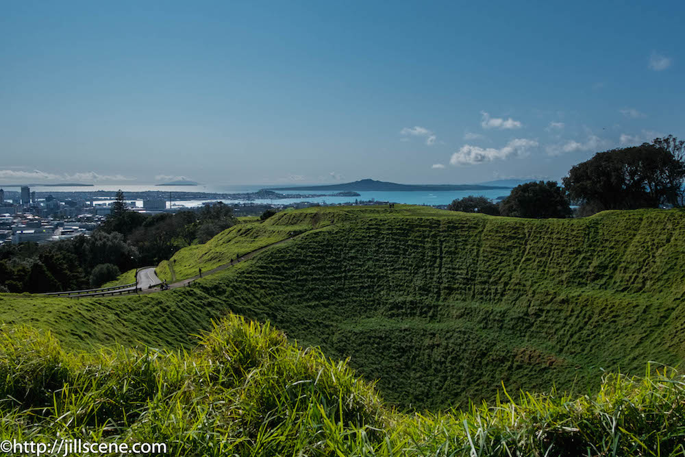 Looking across the crater of Mount Eden to Rangitoto Island