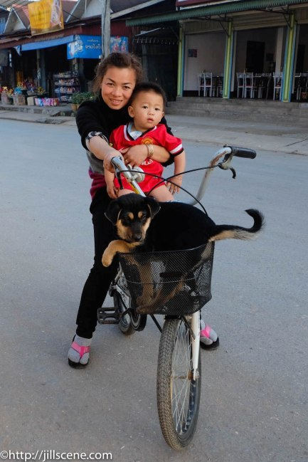 Mother and child and dog, Luang Namtha, Northern Laos