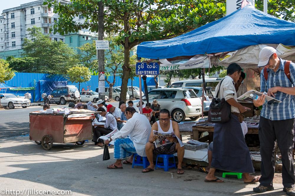 News stand, Yangon, Myanmar