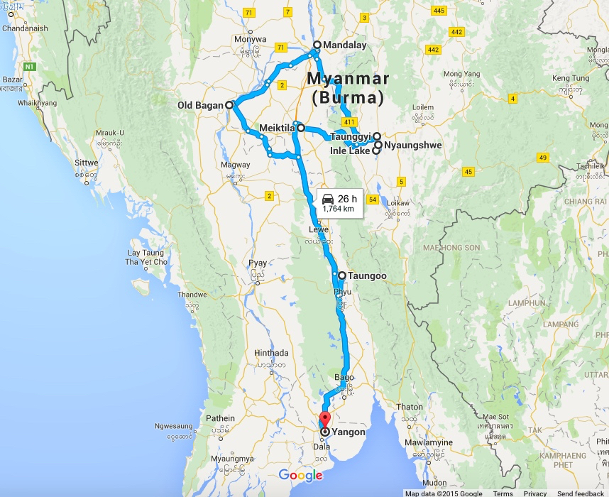 Myanmar - our route